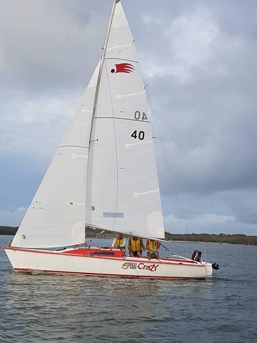 white racing sail
