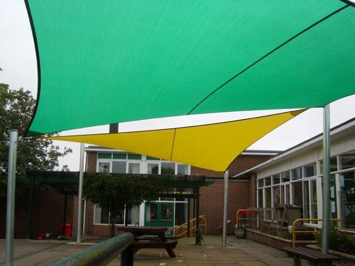 Multicoloured shade sails