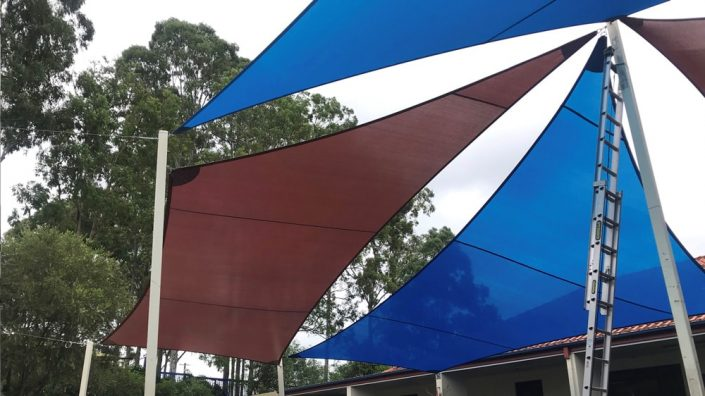 Coloured shade sails